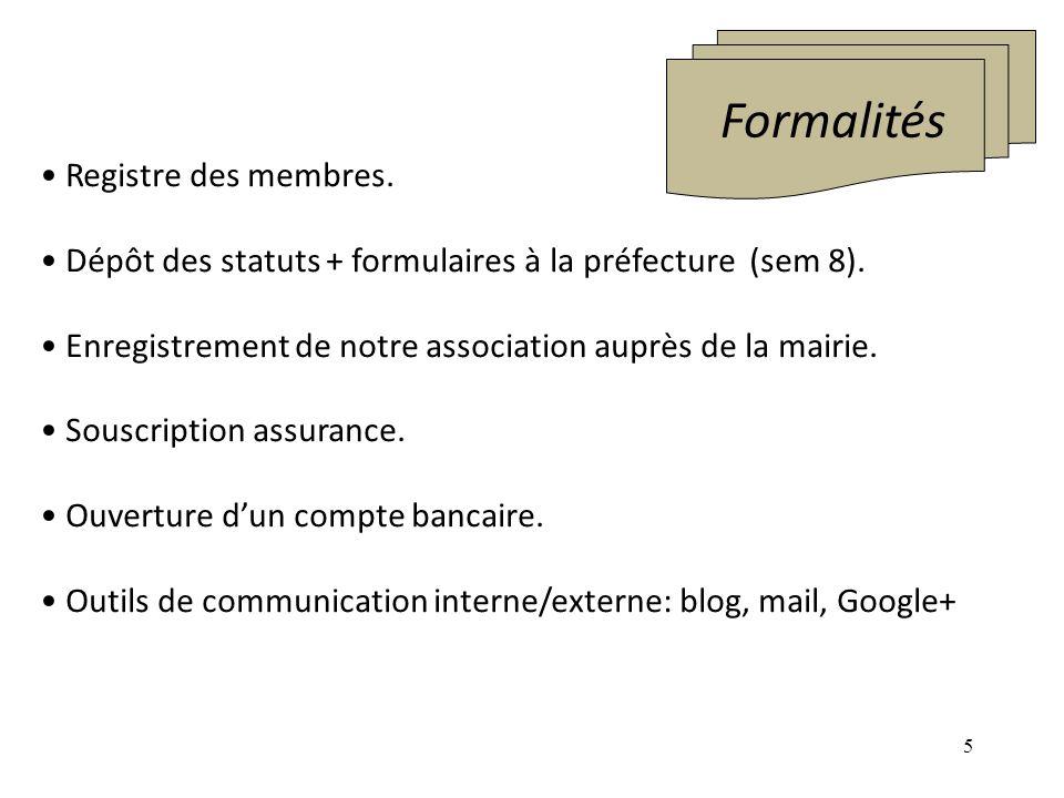 5 Formalités Registre des membres. Dépôt des statuts + formulaires à la préfecture (sem 8). Enregistrement de notre association auprès de la mairie. S
