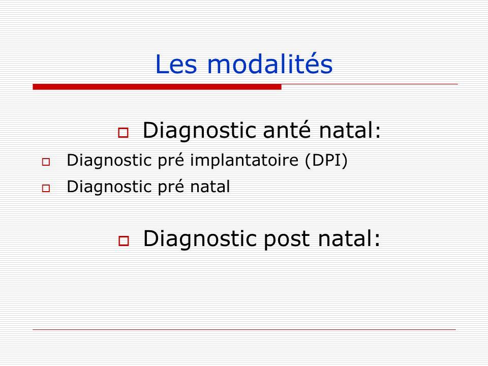 Les modalités Diagnostic anté natal : Diagnostic pré implantatoire (DPI) Diagnostic pré natal Diagnostic post natal: