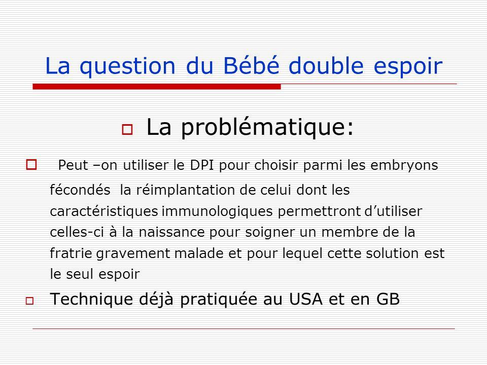 La question du Bébé double espoir La problématique: Peut –on utiliser le DPI pour choisir parmi les embryons fécondés la réimplantation de celui dont