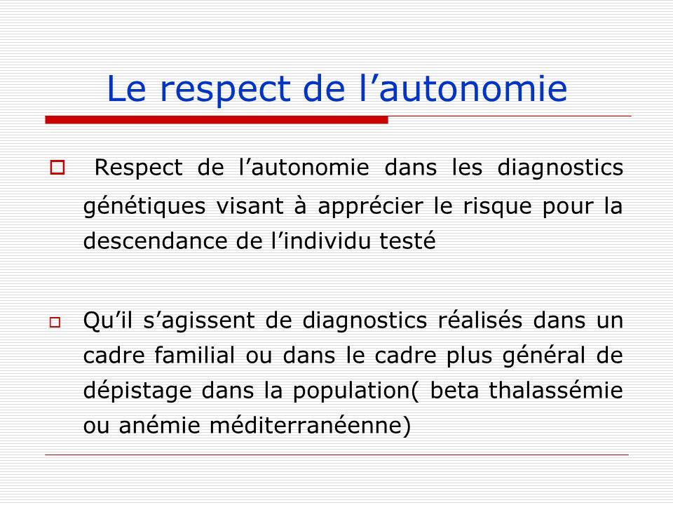 Le respect de lautonomie Respect de lautonomie dans les diagnostics génétiques visant à apprécier le risque pour la descendance de lindividu testé Qui