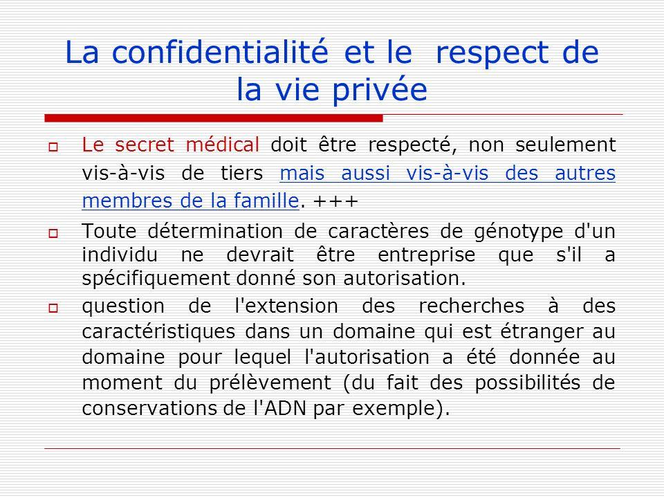 La confidentialité et le respect de la vie privée Le secret médical doit être respecté, non seulement vis-à-vis de tiers mais aussi vis-à-vis des autr