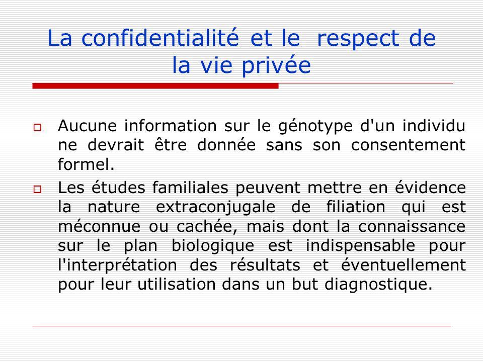 Aucune information sur le génotype d'un individu ne devrait être donnée sans son consentement formel. Les études familiales peuvent mettre en évidence