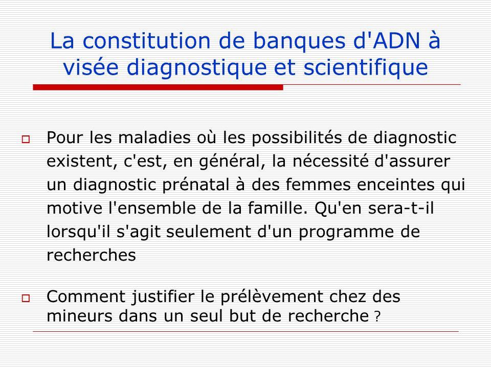 La constitution de banques d'ADN à visée diagnostique et scientifique Pour les maladies où les possibilités de diagnostic existent, c'est, en général,