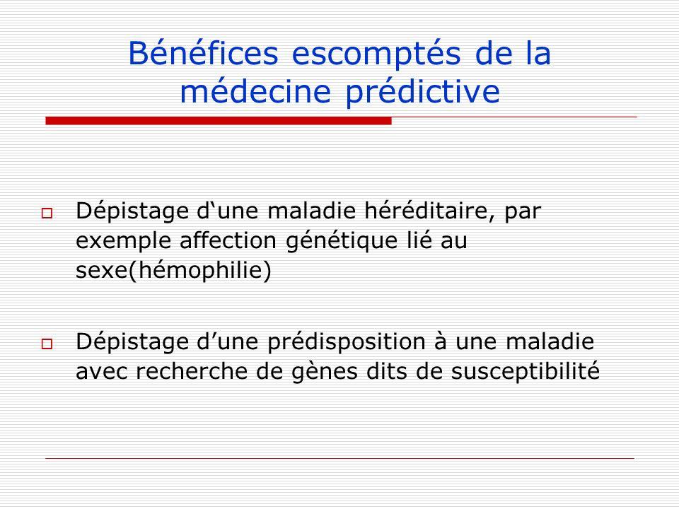 Bénéfices escomptés de la médecine prédictive Dépistage dune maladie héréditaire, par exemple affection génétique lié au sexe(hémophilie) Dépistage du