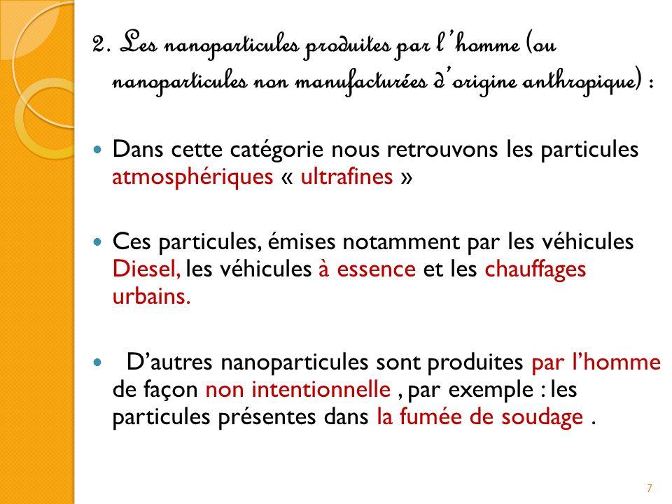 8 On peut également classer les nanoparticules/nano-objets selon leur taille dans chacune des trois dimensions : les fullerénes, particules, etc.