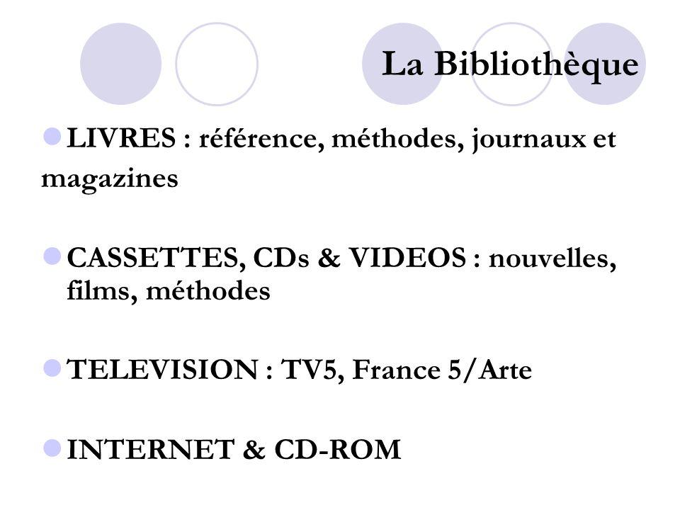 La Bibliothèque LIVRES : référence, méthodes, journaux et magazines CASSETTES, CDs & VIDEOS : nouvelles, films, méthodes TELEVISION : TV5, France 5/Arte INTERNET & CD-ROM