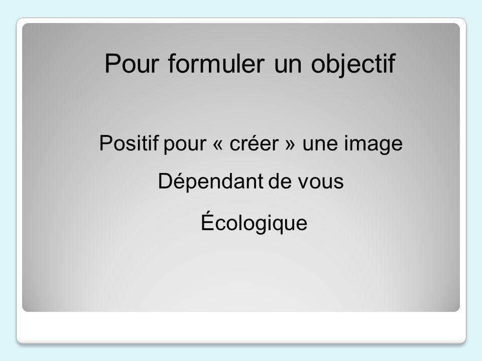 Pour formuler un objectif Positif pour « créer » une image Dépendant de vous Écologique