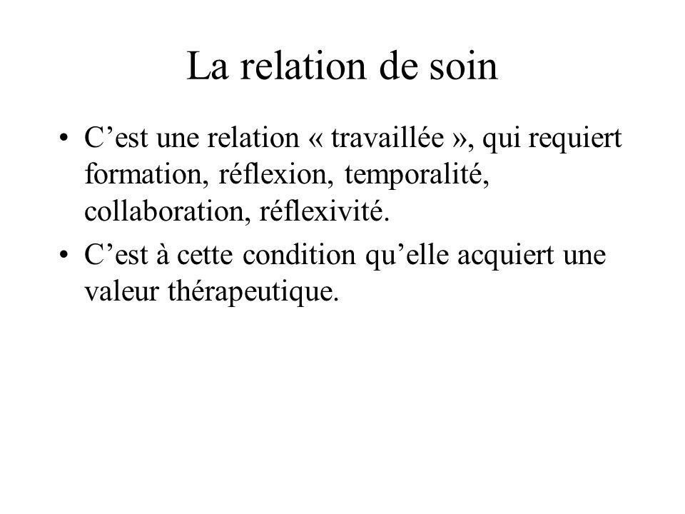 La relation de soin Cest une relation « travaillée », qui requiert formation, réflexion, temporalité, collaboration, réflexivité. Cest à cette conditi