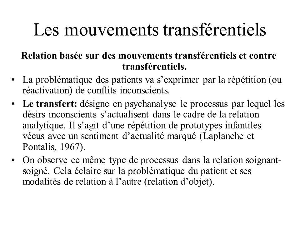 Les mouvements transférentiels Relation basée sur des mouvements transférentiels et contre transférentiels. La problématique des patients va sexprimer