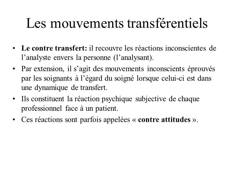 Les mouvements transférentiels Le contre transfert: il recouvre les réactions inconscientes de lanalyste envers la personne (lanalysant). Par extensio