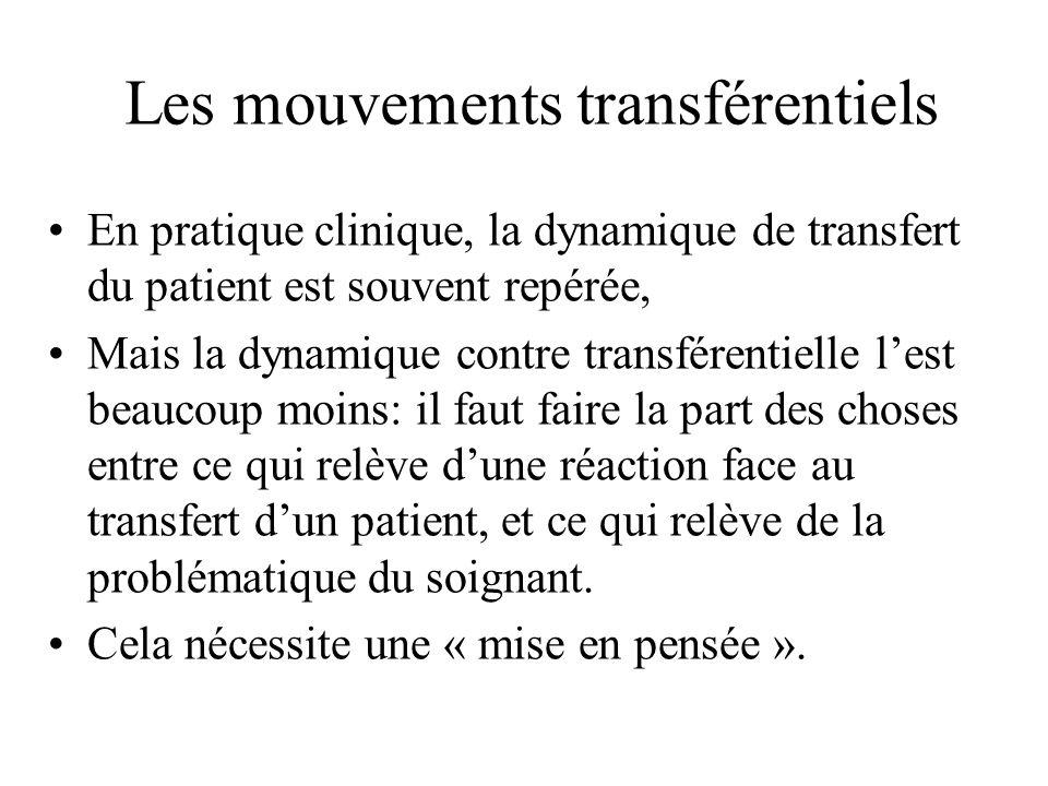 Les mouvements transférentiels En pratique clinique, la dynamique de transfert du patient est souvent repérée, Mais la dynamique contre transférentiel