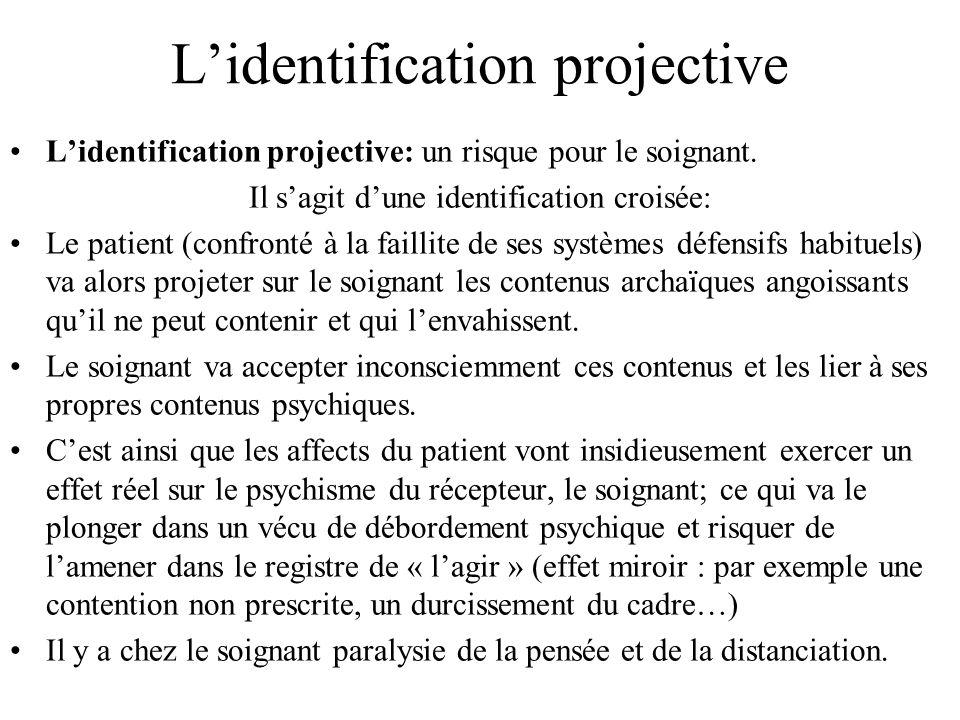 Lidentification projective Lidentification projective: un risque pour le soignant. Il sagit dune identification croisée: Le patient (confronté à la fa