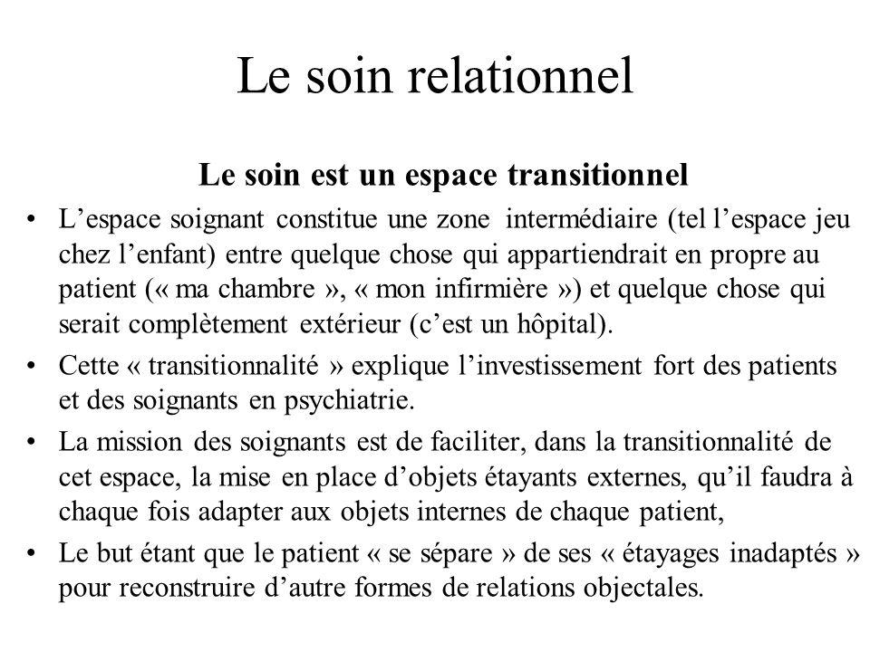 Le soin relationnel Le soin est un espace transitionnel Lespace soignant constitue une zone intermédiaire (tel lespace jeu chez lenfant) entre quelque