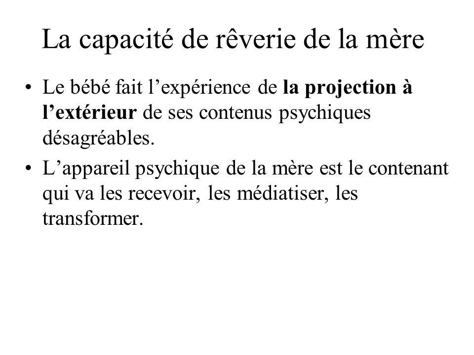 La capacité de rêverie de la mère Le bébé fait lexpérience de la projection à lextérieur de ses contenus psychiques désagréables. Lappareil psychique