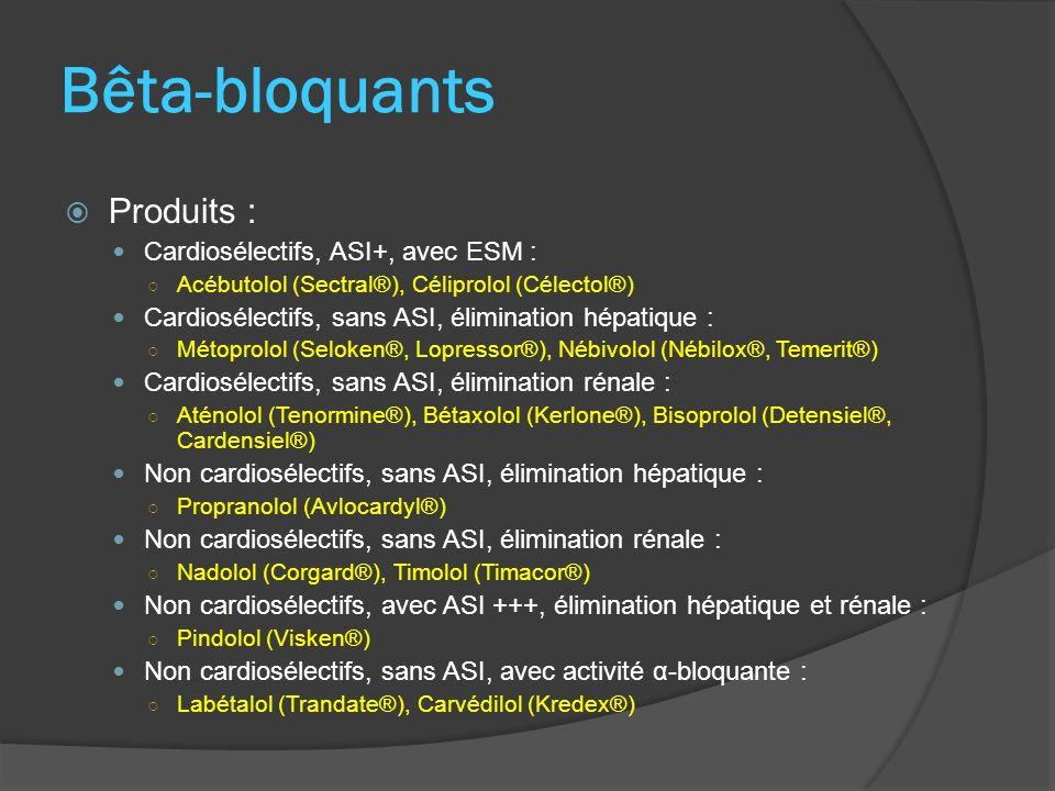 Bêta-bloquants Produits : Cardiosélectifs, ASI+, avec ESM : Acébutolol (Sectral®), Céliprolol (Célectol®) Cardiosélectifs, sans ASI, élimination hépat