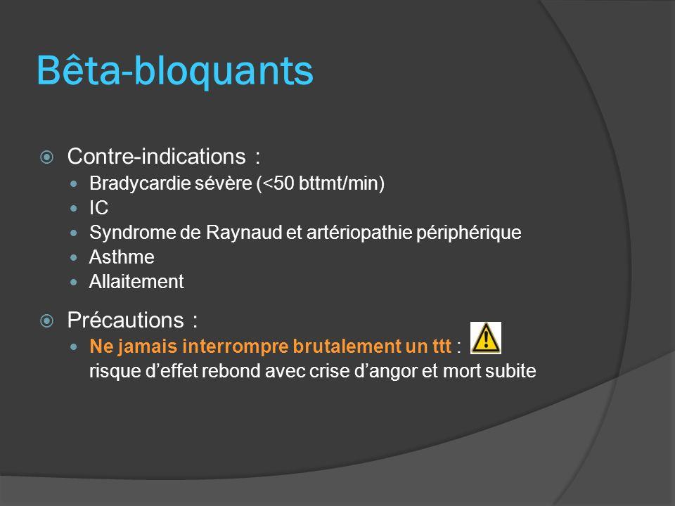 Bêta-bloquants Contre-indications : Bradycardie sévère (<50 bttmt/min) IC Syndrome de Raynaud et artériopathie périphérique Asthme Allaitement Précaut