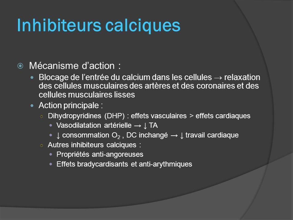 Inhibiteurs calciques Mécanisme daction : Blocage de lentrée du calcium dans les cellules relaxation des cellules musculaires des artères et des coron