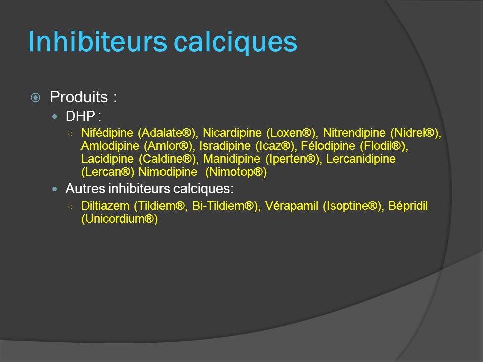 Inhibiteurs calciques Produits : DHP : Nifédipine (Adalate®), Nicardipine (Loxen®), Nitrendipine (Nidrel®), Amlodipine (Amlor®), Isradipine (Icaz®), F
