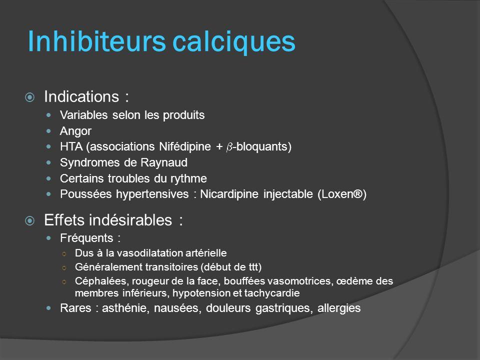 Inhibiteurs calciques Indications : Variables selon les produits Angor HTA (associations Nifédipine + -bloquants) Syndromes de Raynaud Certains troubl