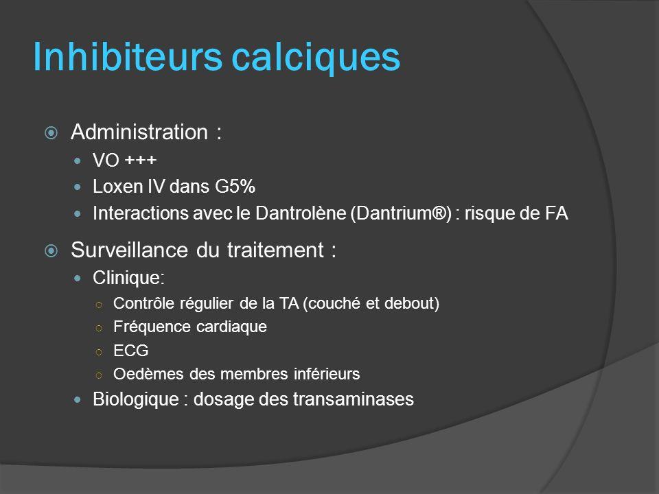 Inhibiteurs calciques Administration : VO +++ Loxen IV dans G5% Interactions avec le Dantrolène (Dantrium®) : risque de FA Surveillance du traitement