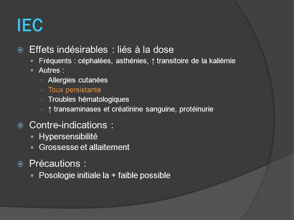 IEC Effets indésirables : liés à la dose Fréquents : céphalées, asthénies, transitoire de la kaliémie Autres : Allergies cutanées Toux persistante Tro