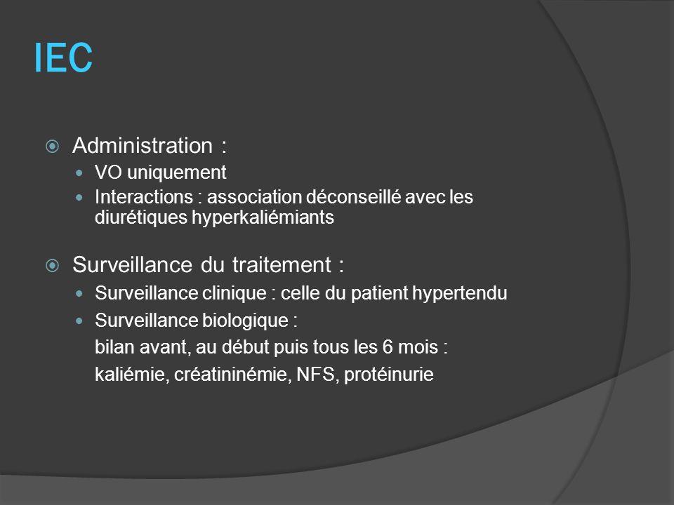 IEC Administration : VO uniquement Interactions : association déconseillé avec les diurétiques hyperkaliémiants Surveillance du traitement : Surveilla