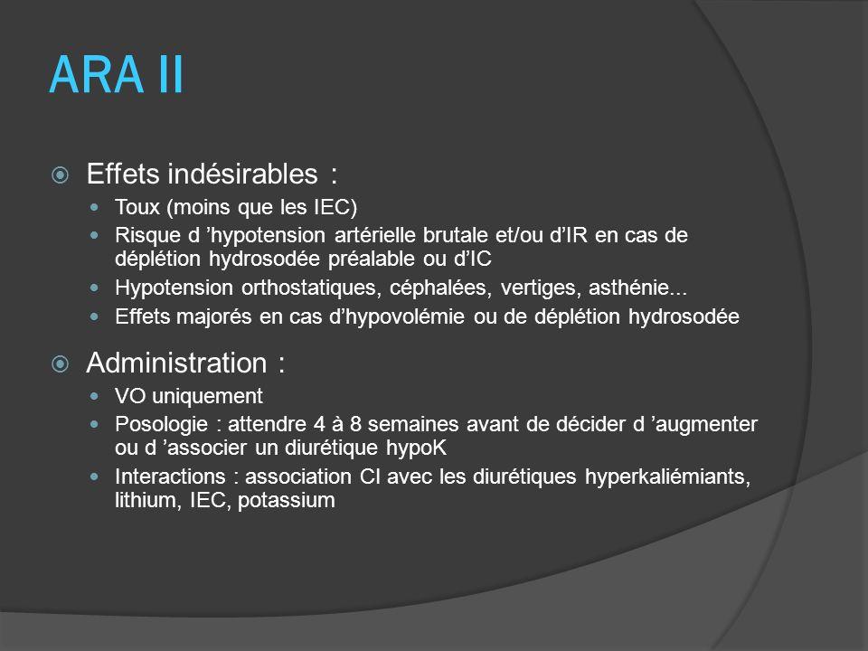 ARA II Effets indésirables : Toux (moins que les IEC) Risque d hypotension artérielle brutale et/ou dIR en cas de déplétion hydrosodée préalable ou dI