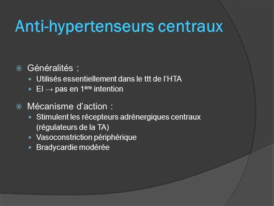 Généralités : Utilisés essentiellement dans le ttt de lHTA EI pas en 1 ère intention Mécanisme daction : Stimulent les récepteurs adrénergiques centra