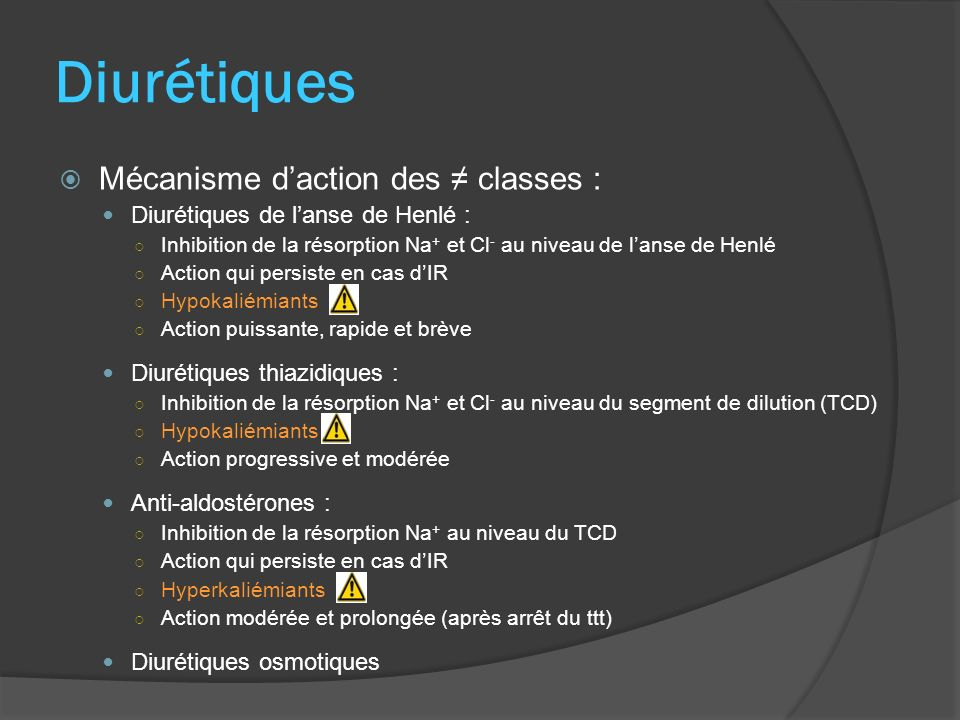Antagonistes de lAT II (ARA II) Mécanisme daction : Inhibition de l action vasoconstrictrice de l AT II ( IEC : taux plasmatique de l AT II) Action principale : PA Produits : Losartan (Cozaar®), Valsartan (Nisis®, Tareg®), Irbésartan (Aprovel®), Candésartan (Atacand®, Kensen®), Telmisartan (Pritor®, Micardis®), Eprosartan (Téveten®), Olmésartan (Alteis®, Olmetec®) Indications : HTA essentielle 2 nde intention : association à un diurétique hypokaliémiant