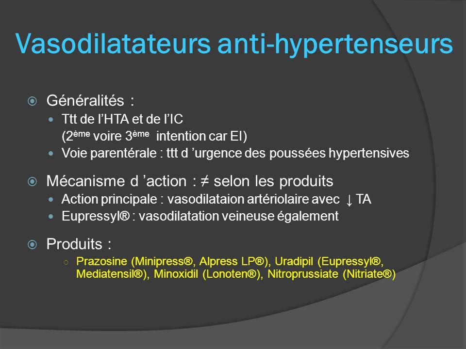 Généralités : Ttt de lHTA et de lIC (2 ème voire 3 ème intention car EI) Voie parentérale : ttt d urgence des poussées hypertensives Mécanisme d actio