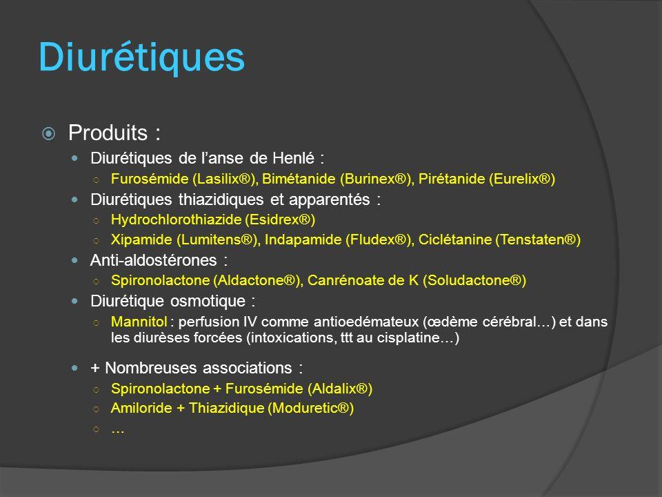 Diurétiques Produits : Diurétiques de lanse de Henlé : Furosémide (Lasilix®), Bimétanide (Burinex®), Pirétanide (Eurelix®) Diurétiques thiazidiques et