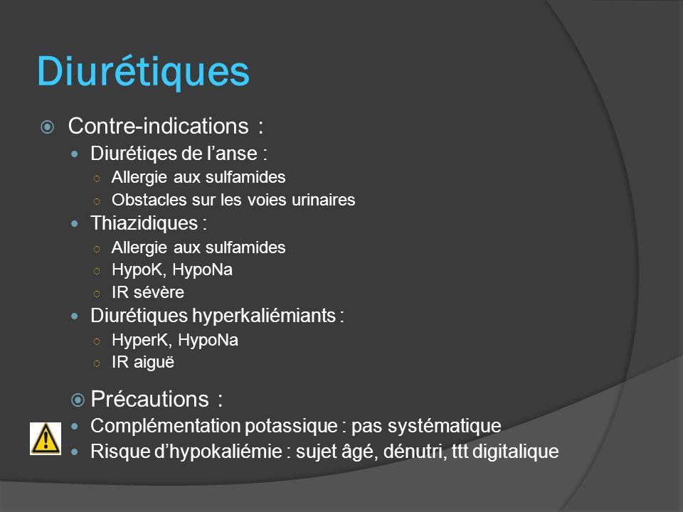 Diurétiques Contre-indications : Diurétiqes de lanse : Allergie aux sulfamides Obstacles sur les voies urinaires Thiazidiques : Allergie aux sulfamide