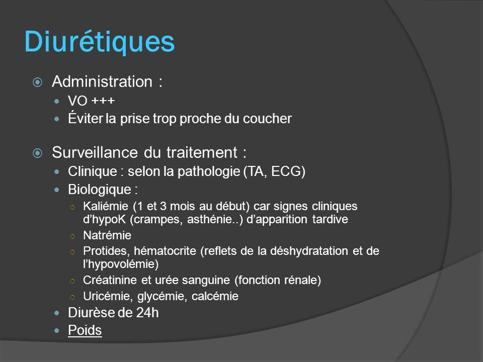 Diurétiques Administration : VO +++ Éviter la prise trop proche du coucher Surveillance du traitement : Clinique : selon la pathologie (TA, ECG) Biolo
