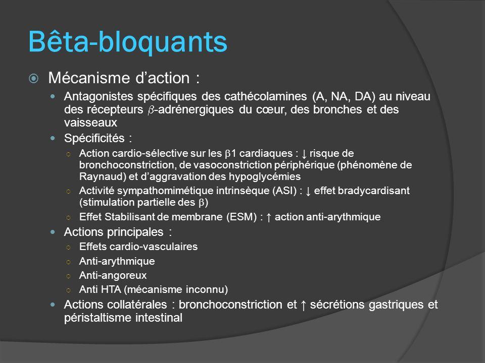 Bêta-bloquants Mécanisme daction : Antagonistes spécifiques des cathécolamines (A, NA, DA) au niveau des récepteurs -adrénergiques du cœur, des bronch