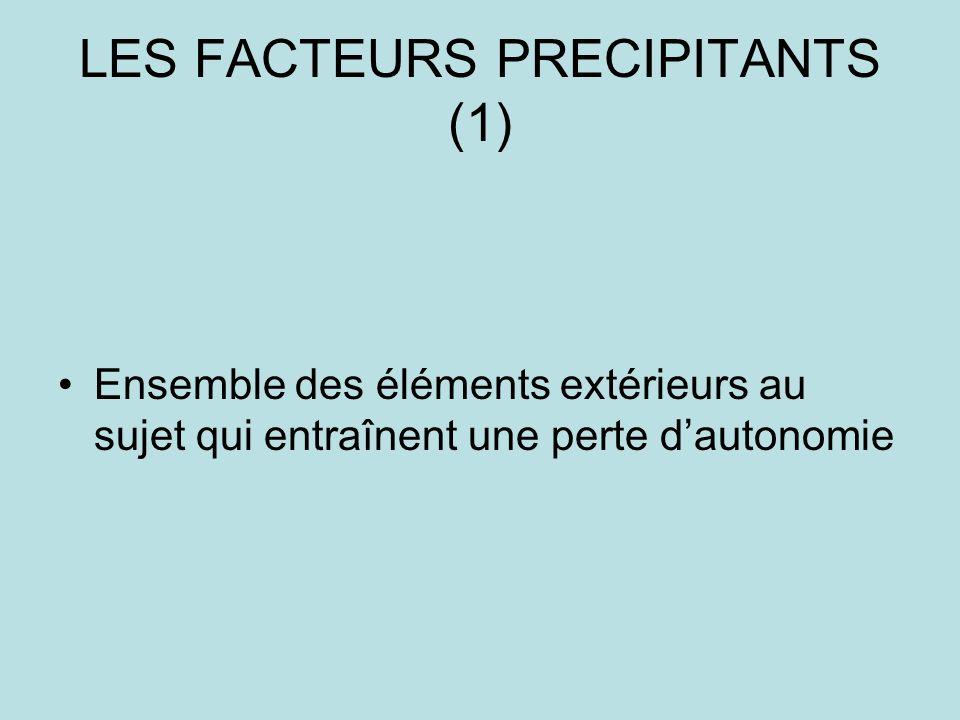 LES FACTEURS PRECIPITANTS (1) Ensemble des éléments extérieurs au sujet qui entraînent une perte dautonomie