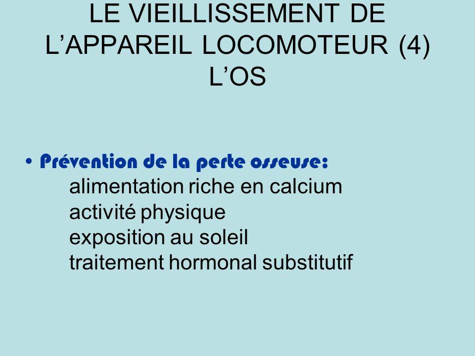 LE VIEILLISSEMENT DE LAPPAREIL LOCOMOTEUR (4) LOS Prévention de la perte osseuse: alimentation riche en calcium activité physique exposition au soleil traitement hormonal substitutif