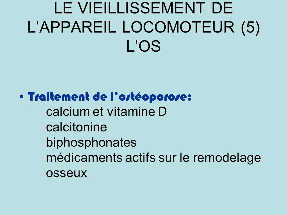 LE VIEILLISSEMENT DE LAPPAREIL LOCOMOTEUR (5) LOS Traitement de lostéoporose: calcium et vitamine D calcitonine biphosphonates médicaments actifs sur le remodelage osseux