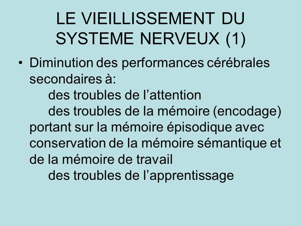 LE VIEILLISSEMENT DU SYSTEME NERVEUX (1) Diminution des performances cérébrales secondaires à: des troubles de lattention des troubles de la mémoire (encodage) portant sur la mémoire épisodique avec conservation de la mémoire sémantique et de la mémoire de travail des troubles de lapprentissage