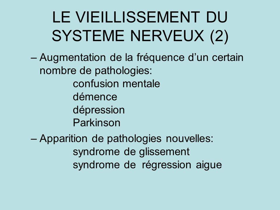 LE VIEILLISSEMENT DU SYSTEME NERVEUX (2) –Augmentation de la fréquence dun certain nombre de pathologies: confusion mentale démence dépression Parkinson –Apparition de pathologies nouvelles: syndrome de glissement syndrome de régression aigue