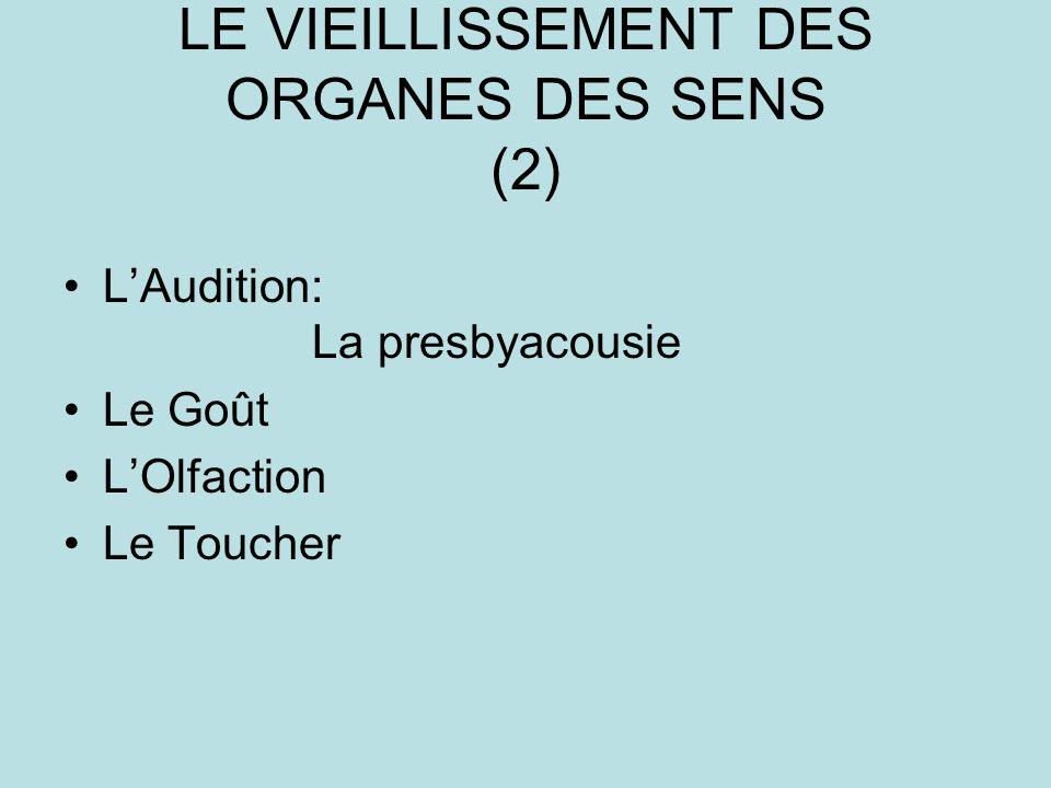LE VIEILLISSEMENT DES ORGANES DES SENS (2) LAudition: La presbyacousie Le Goût LOlfaction Le Toucher