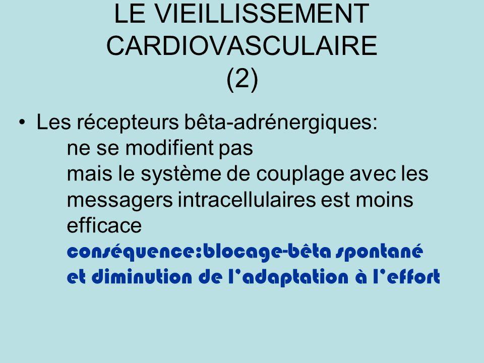 LE VIEILLISSEMENT CARDIOVASCULAIRE (2) Les récepteurs bêta-adrénergiques: ne se modifient pas mais le système de couplage avec les messagers intracellulaires est moins efficace conséquence:blocage-bêta spontané et diminution de ladaptation à leffort