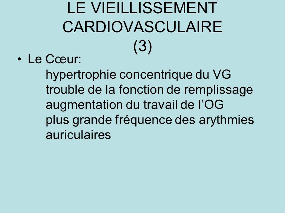 LE VIEILLISSEMENT CARDIOVASCULAIRE (3) Le Cœur: hypertrophie concentrique du VG trouble de la fonction de remplissage augmentation du travail de lOG plus grande fréquence des arythmies auriculaires
