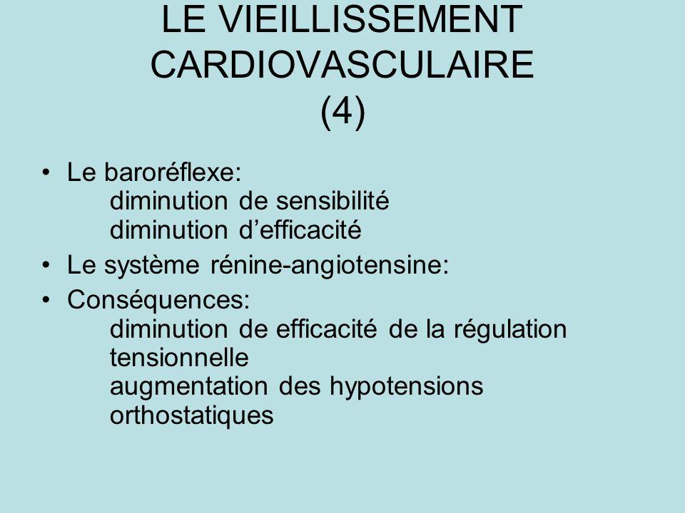 LE VIEILLISSEMENT CARDIOVASCULAIRE (4) Le baroréflexe: diminution de sensibilité diminution defficacité Le système rénine-angiotensine: Conséquences: diminution de efficacité de la régulation tensionnelle augmentation des hypotensions orthostatiques