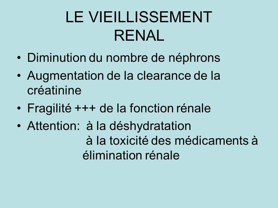 LE VIEILLISSEMENT RENAL Diminution du nombre de néphrons Augmentation de la clearance de la créatinine Fragilité +++ de la fonction rénale Attention: à la déshydratation à la toxicité des médicaments à élimination rénale