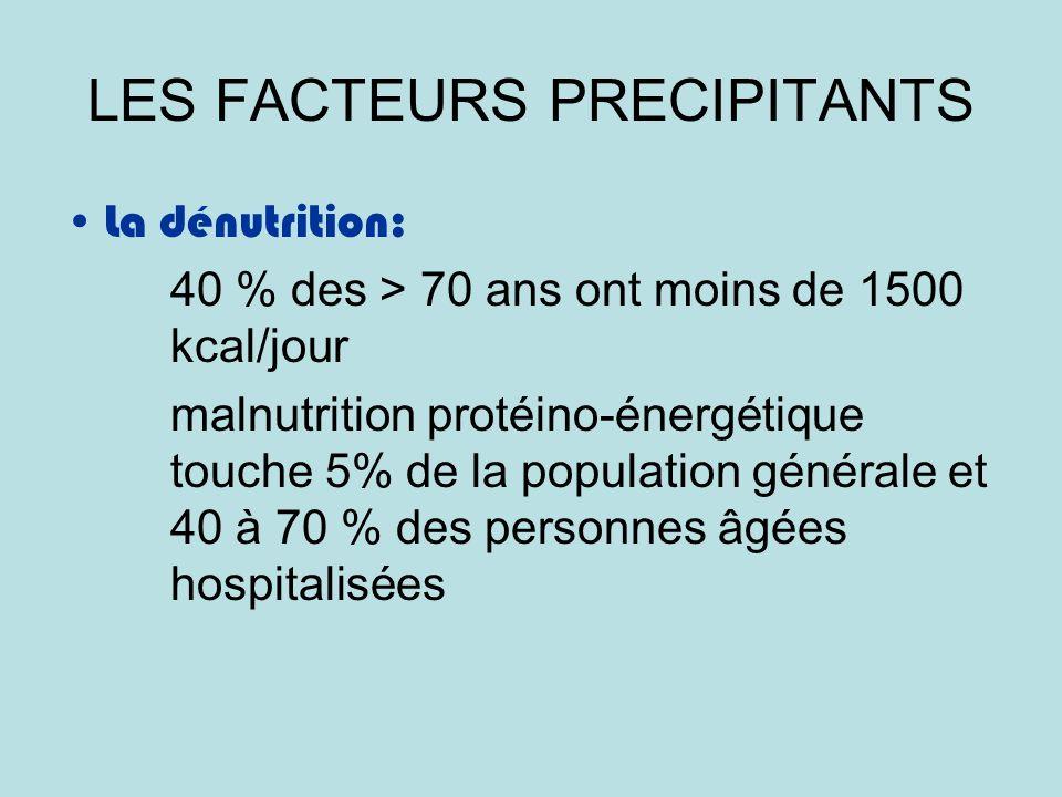 LES FACTEURS PRECIPITANTS La dénutrition: 40 % des > 70 ans ont moins de 1500 kcal/jour malnutrition protéino-énergétique touche 5% de la population générale et 40 à 70 % des personnes âgées hospitalisées