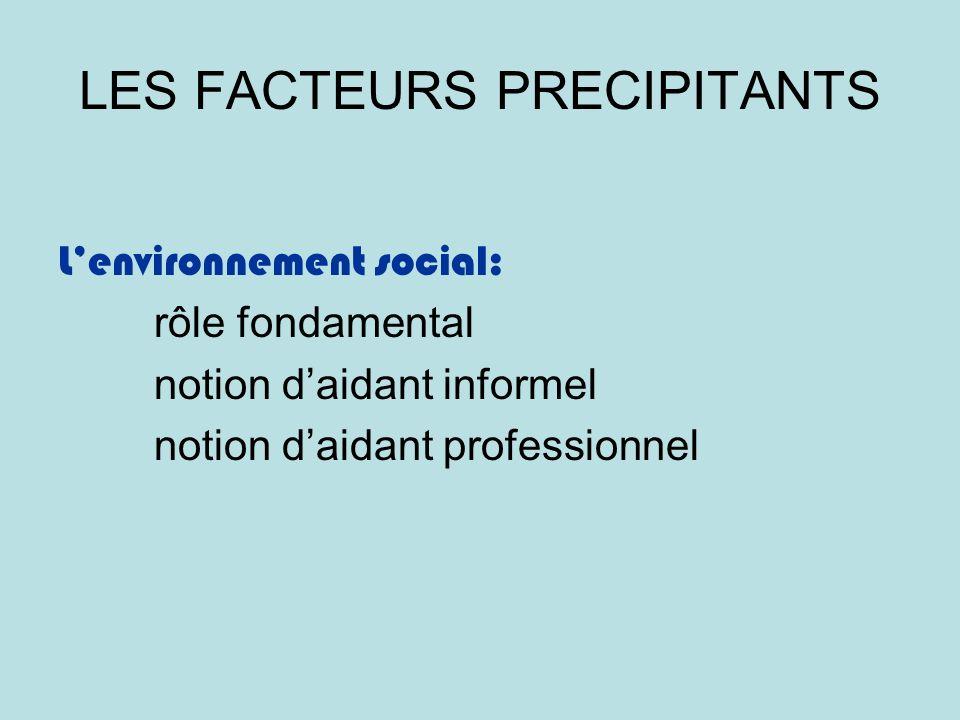 LES FACTEURS PRECIPITANTS Lenvironnement social: rôle fondamental notion daidant informel notion daidant professionnel