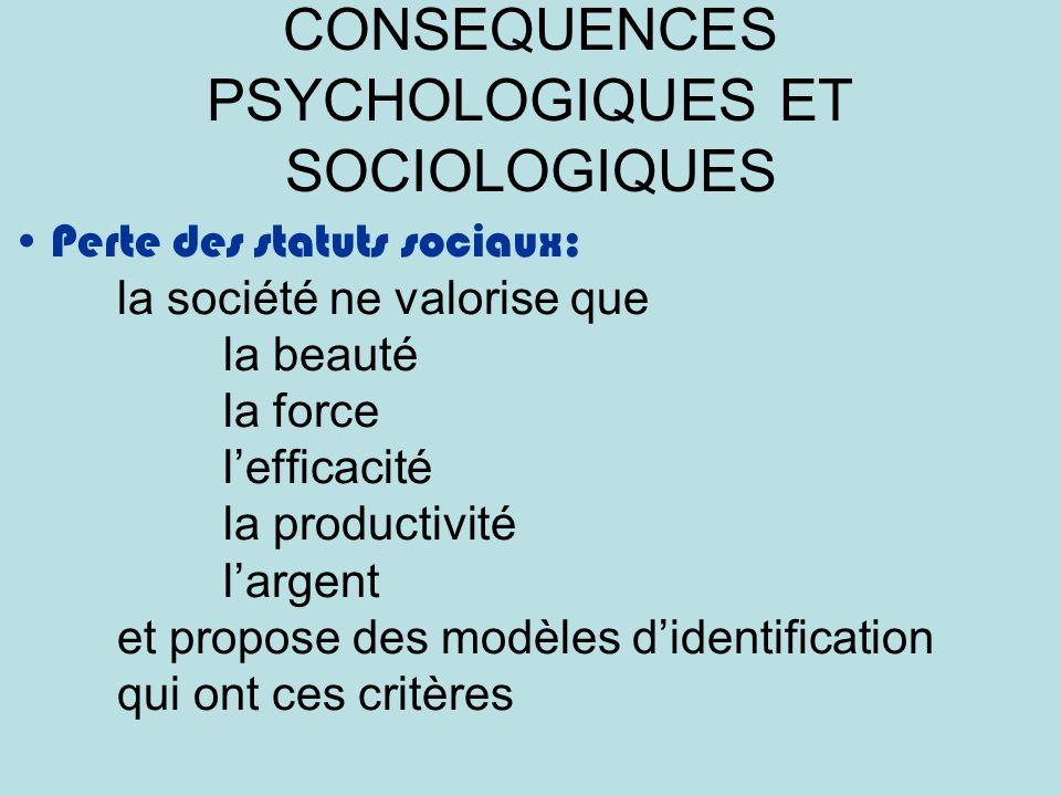 CONSEQUENCES PSYCHOLOGIQUES ET SOCIOLOGIQUES Perte des statuts sociaux: la société ne valorise que la beauté la force lefficacité la productivité largent et propose des modèles didentification qui ont ces critères