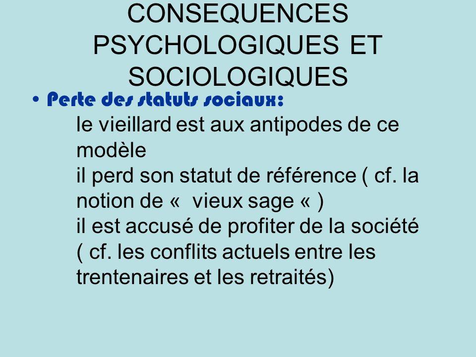 CONSEQUENCES PSYCHOLOGIQUES ET SOCIOLOGIQUES Perte des statuts sociaux: le vieillard est aux antipodes de ce modèle il perd son statut de référence ( cf.