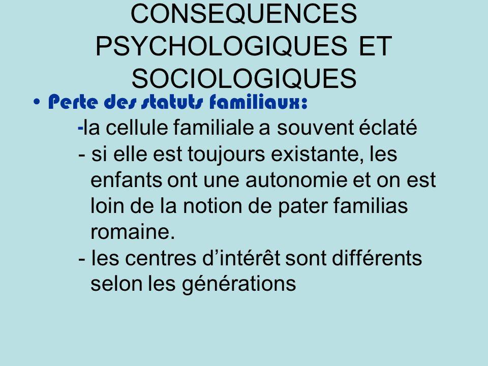 CONSEQUENCES PSYCHOLOGIQUES ET SOCIOLOGIQUES Perte des statuts familiaux: - la cellule familiale a souvent éclaté - si elle est toujours existante, les enfants ont une autonomie et on est loin de la notion de pater familias romaine.