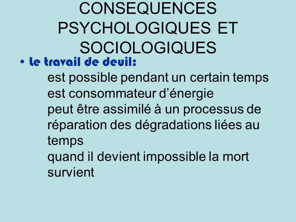 CONSEQUENCES PSYCHOLOGIQUES ET SOCIOLOGIQUES Le travail de deuil: est possible pendant un certain temps est consommateur dénergie peut être assimilé à un processus de réparation des dégradations liées au temps quand il devient impossible la mort survient